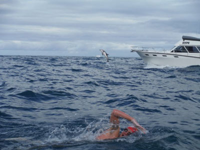 Adam Walker swimming in NZ